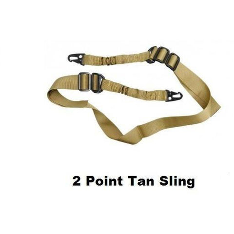 【Hunter Select】Tactical two Single Point Sling Entry Level 2pt Bungee Strap Black/ Tan/ Green #00287