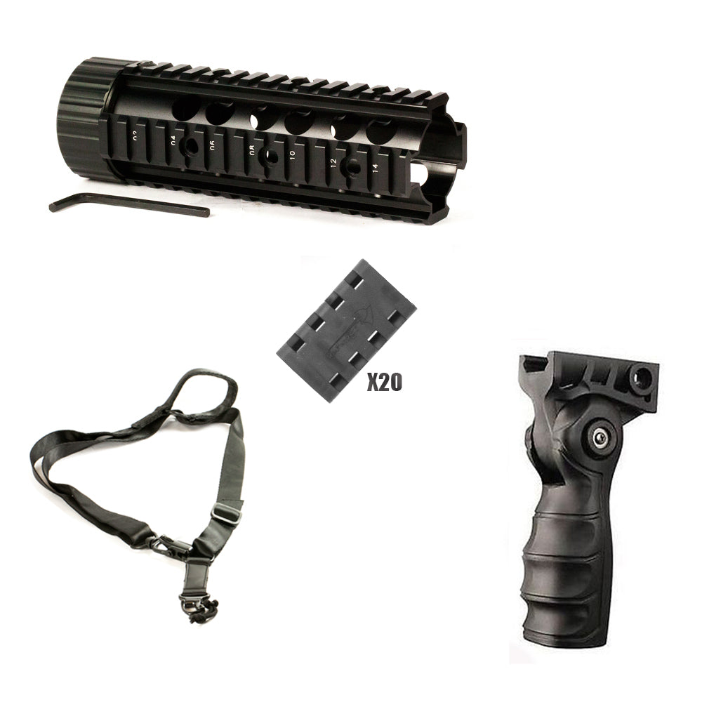 "【Hunter Select】Mid-Length Handguard - 7 "" + Forend Pistol Grip w/ storage+Rail Cover set+1/2 Point Sling MS2 #00354"