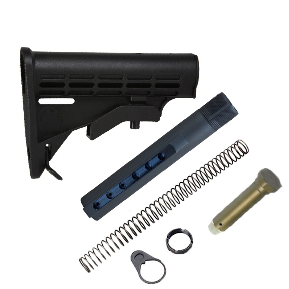 【J&E Machine Tech】Made in USA Mil'Spec Standard Carbine Adjustable Stock w/ Buffer Tube Kit COMBO #00328