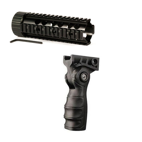 "【Hunter Select】Mid-Length Free Float Handguard - 7 "" + Forend Pistol Grip w/ storage(Black) #00351"