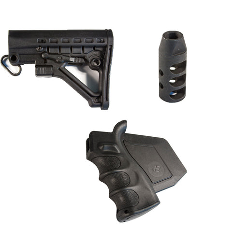 【J&E Machine Tech】 California Featureless Fixed Mil Spec Skeleton Stock & Paddle Grip & 223 Muzzle Brake #00559