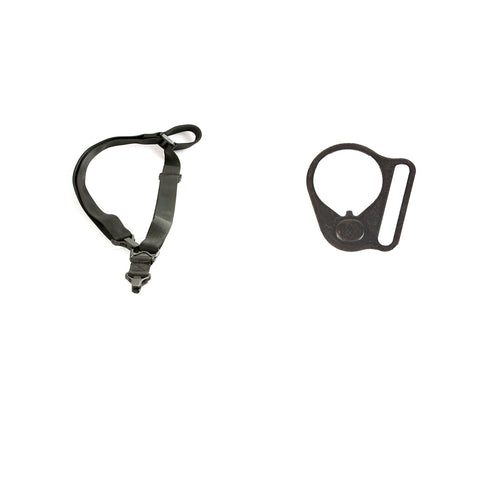 【Hunter Select】Quick Draw Convertible 1/2 Point Sling MS3 & Black Round Sling Mount Adapter End Plate Loop for Right Handed #00566