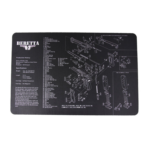 "【Hunter Select】11x17"" Handgun Pistol Maintenance Cleaning Mat pad w/ Beretta 92 Imprint #00366"