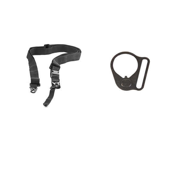 【Hunter Select】Entry Level - 3 Point Bungee Sling & Black Round Sling Mount Adapter End Plate Loop for Right Handed #00564