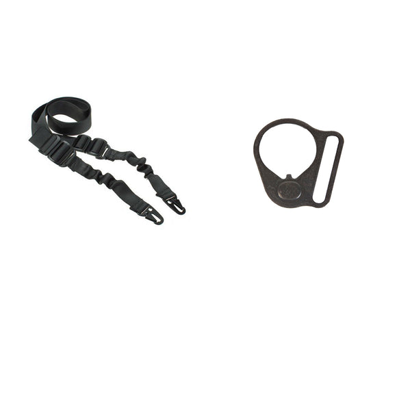 【Hunter Select】AR-15 Entry Level - 2 Point Bungee Sling & Black Round Sling Mount Adapter End Plate Loop for Right Handed #00563