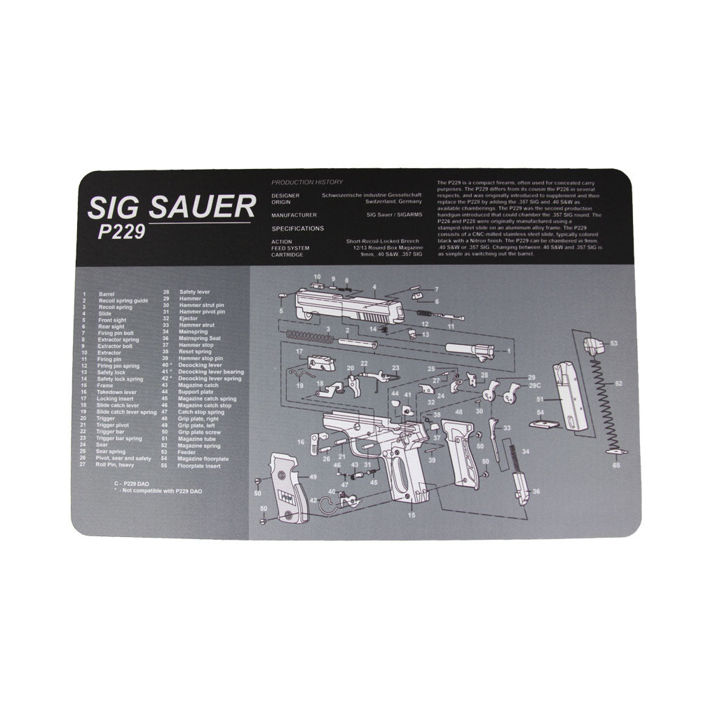 "【Hunter Select】Hunter Select 11x17""  Pistol Maintenance Cleaning Mat w/ Sig Sauer p229 Imprint #00369"