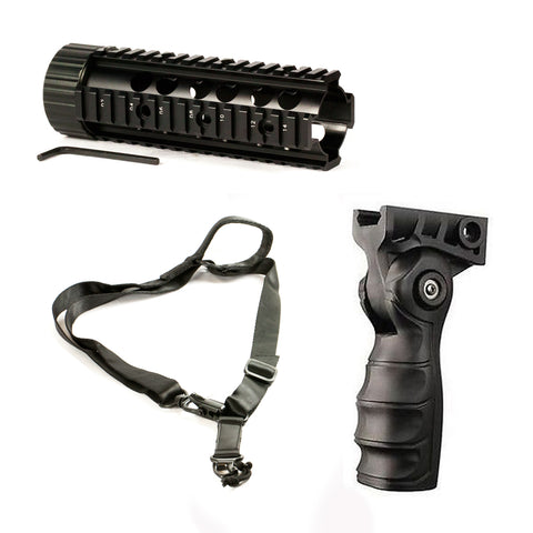 "【Hunter Select】Mid-Length Free Float Handguard - 7 "" + Forend Pistol Grip w/ storage+ 1/2 Point Sling MS2 #00353"