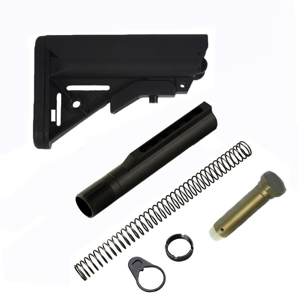 【J&E Machine Tech】Made in USA AR SOPMOD Mil'Spec ButtStock Made In USA(Black/Tan) w/ buffer tube Kit COMBO #00339