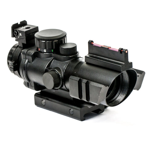 【Hunter Select】4x32mm Tactical Prism Scope With RGB Tri-illumination etched Horsehoe Glass Reticle And Fiber Optics Front Sight #00417