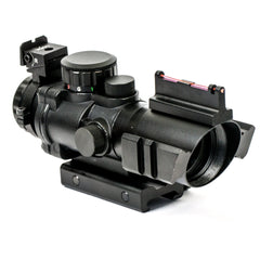 【Hunter Select】4x32mm Tactical Prism Scope With RGB Tri-illumination etched Horseshoe Glass Reticle And Fiber Optics Front Sight #00417
