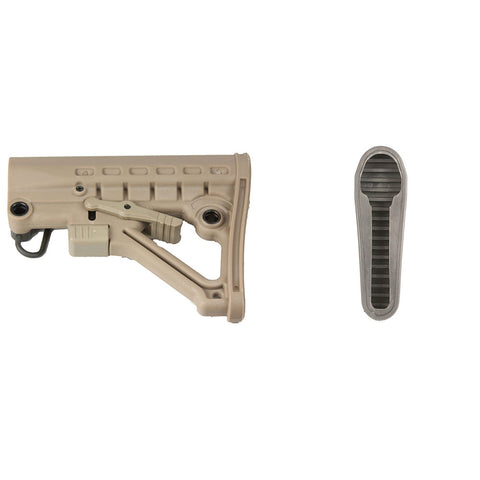 【Hunter Select】Mil'Spec Skeleton A-Frame Adjustable Stock in Tan w/ Butt Pad #00552