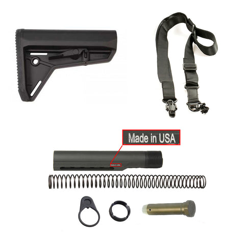 【Magpul】MOE Slim Line Mil-Spec Carbine Stock in Black  w/ Buffer Tube Kit COMBO & 2 Point Sling #00648