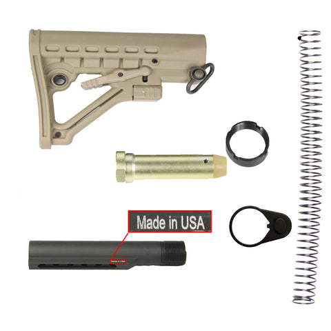 【Hunter Select】Mil'Spec Skeleton A-Frame Adjustable Stock in Tan w/ Buffer Tube Kit COMBO #00645