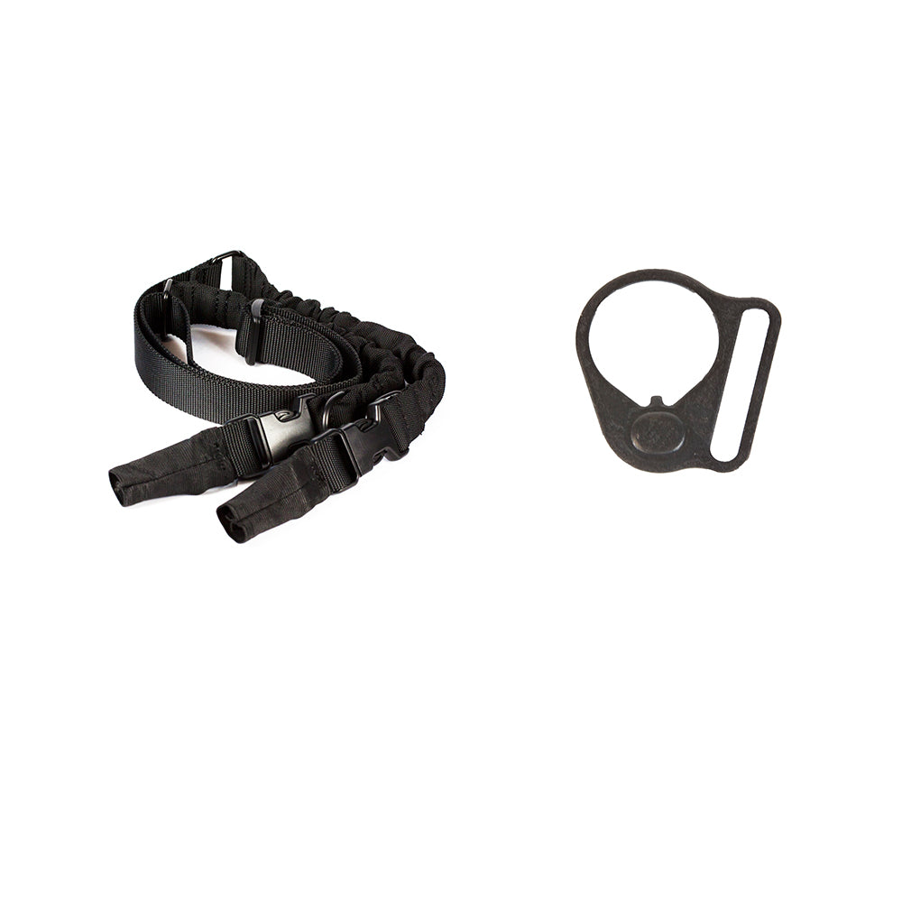 【Hunter Select】Heavy Duty Rifle Bungee Sling Single & Dual Point & Black Round Sling Mount Adapter End Plate Loop for Right Handed #00567