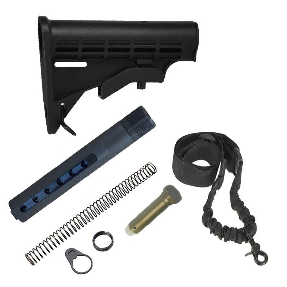 【J&E Machine Tech】Made in USA Mil'Spec Standard Carbine Adjustable Stock w/ Buffer Tube Kit & Standard 1 point Sling
