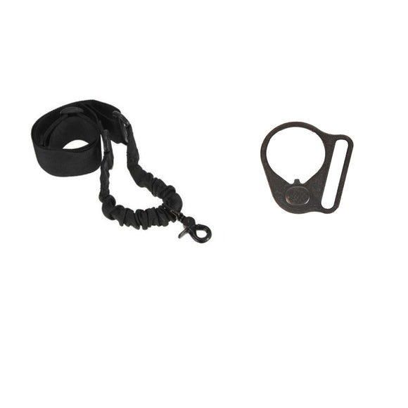 【Hunter Select】Entry Level - 1 Point Bungee Sling & Black Round Sling Mount Adapter End Plate Loop for Right Handed #00562