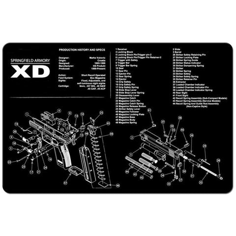 "【Hunter Select】11x17""  Pistol Maintenance Cleaning Mat w/ Springfield XD-40 Imprint #00376"