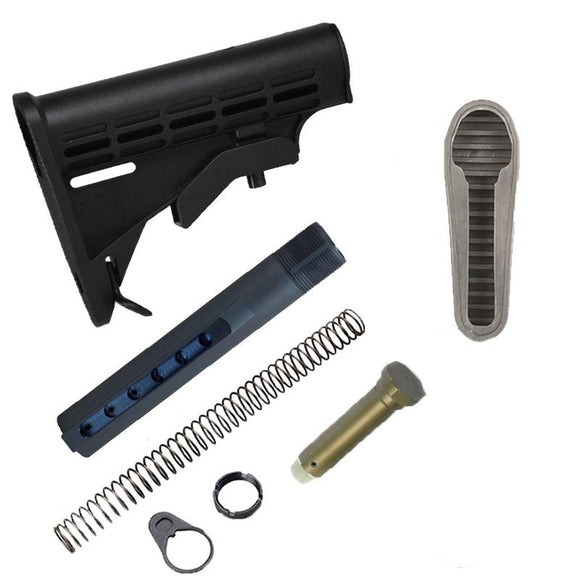 【JE Machine Tech】Made in USA Mil'Spec Standard Carbine Adjustable Stock w/ Buffer Tube Kit & Butt Pad COMBO