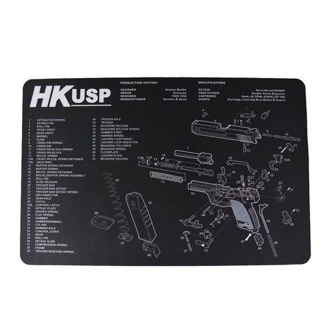 "【Hunter Select】11x17""  Pistol Maintenance Cleaning Mat pad w/ Heckler & Koch USP Imprint #00367"