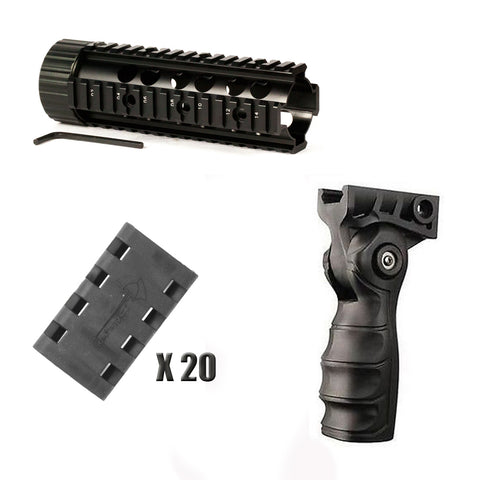 "【Hunter Select】Mid-Length Free Float Handguard - 7 "" + Forend Pistol Grip w/ storage+ 20 Pieces Rail Cover#00352"