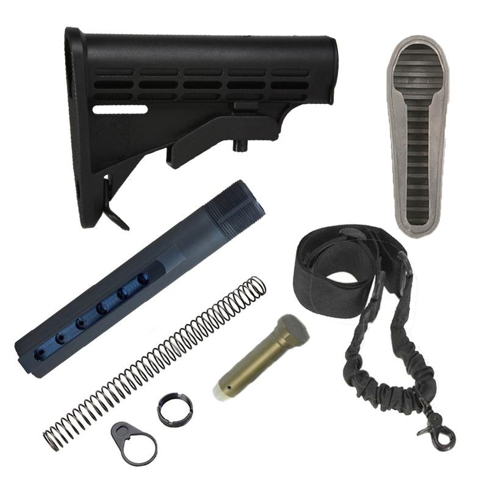 【JE Machine Tech】Made in USA Mil'Spec Carbine Adjustable Stock w/ Buffer Tube Kit, Standard 1 point Sling and Butt Pad COMBO