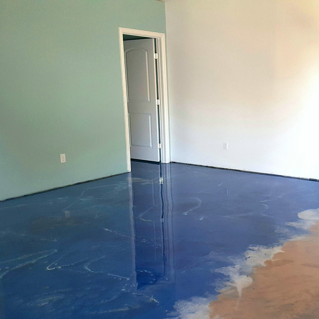 Ocean Beach Reflective Flooring Epoxy System | Lubbock Tile Flooring | Install Price Sq Ft