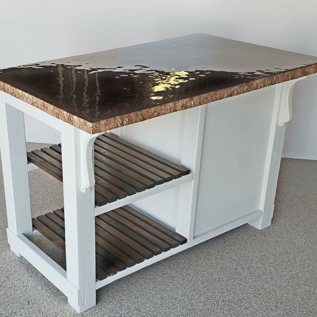 Kitchen Island With Chestnut, Cocoa and Cappuccino Epoxy Counter Top - Kitchen Cart