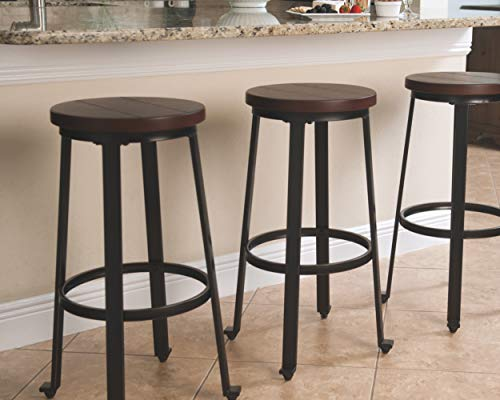 Ashley Furniture Signature Design - Challiman Bar Stool - Pub Height - Set of 2 - Rustic Brown: Kitchen & Dining