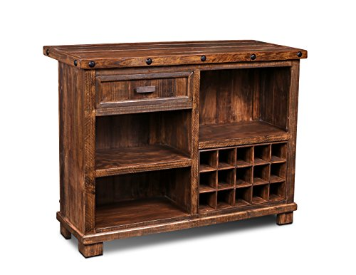 Crafters & Weavers Westgate Solid Wood Rustic Bar Top with Wine Cabinet and Iron Foot Rest: Kitchen & Dining