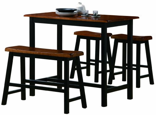 Crown Mark Tyler 4-Piece Counter Height Table Set - Table & Chair Bar Top