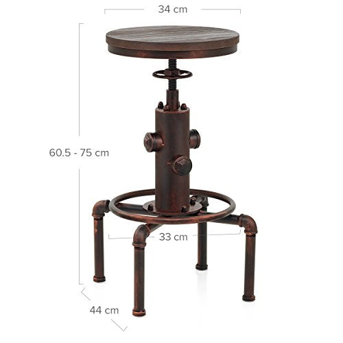 Topower American Antique Vintage Industrial Barstool Solid Wood Water Pipe Fire Hydrant Design Cafe Coffee Industrial Bar Stool (Red Bronze): Kitchen & Dining