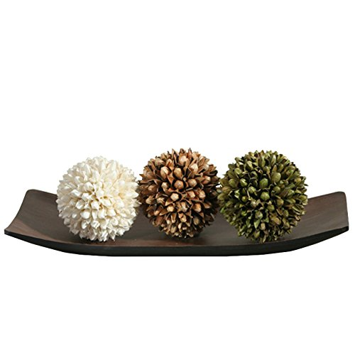 Home Accent Hosley Decorative Bowl/Tray and Floral Orb/Ball Set. for Orbs, Dried Potpourri etc. Ideal Gift for Study, Den, Dorm, Home, Wedding, Spa, Reiki, Meditation O3: Home & Kitchen