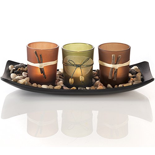 Home Accent Dawhud Direct Natural Candlescape Set, 3 Decorative Candle Holders, Rocks and Tray: Home & Kitchen