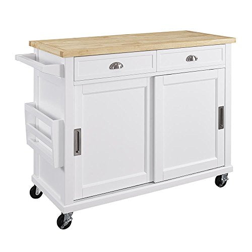 Kitchen Cart in White Finish - Kitchen Islands & Carts