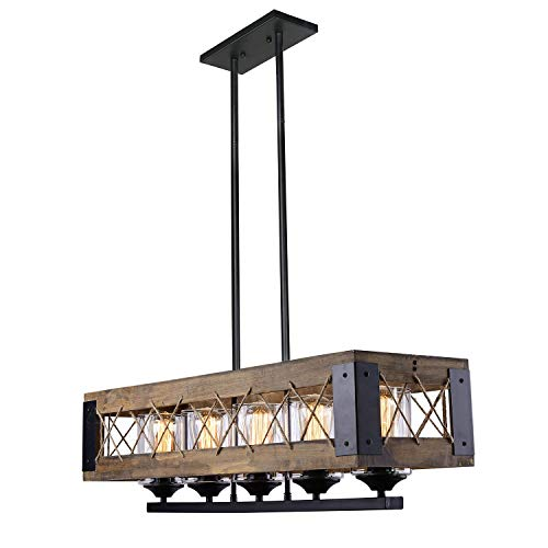 LALUZ Rustic Wood Kitchen Chandelier Linear 5 Wooden Pendant Island Lights, A03145