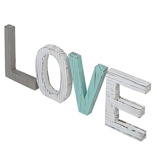 Home Accent MyGift Distressed Wood Block Love Sign, Decorative Wooden Cutout Letters: Home & Kitchen