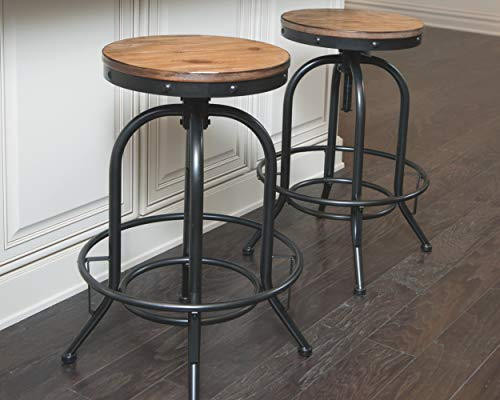 Ashley Furniture Signature Design - Pinnadel Bar Stool - Pub Height - Set of 2 - Rustic Brown: Home & Kitchen