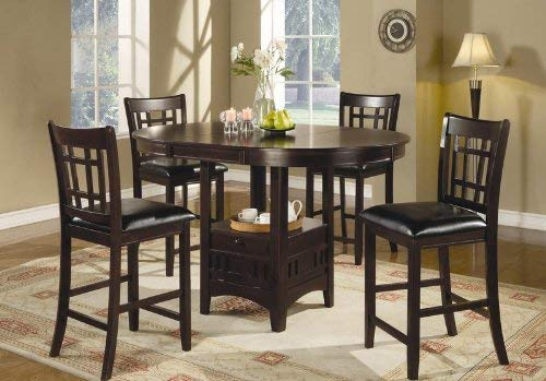 "Lavon 24"" Counter Stools Black and Espresso (Set of 2): Kitchen & Dining"
