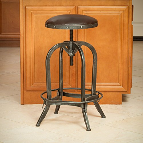 Dempsey | Rustic Industrial | Distressed Metal | Swivel Adjustable | Bar Stool (Brown Bonded Leather) (Convex): Kitchen & Dining