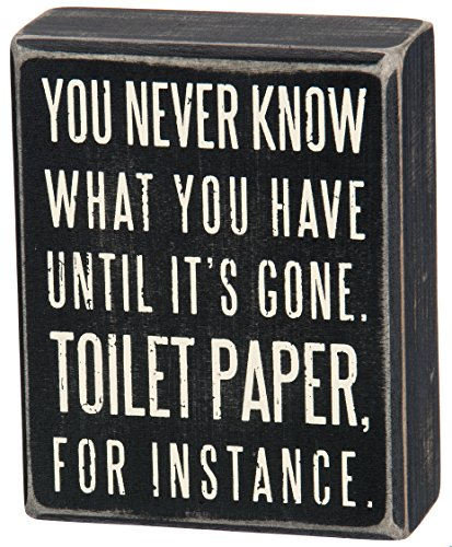 Home Accent Primitives by Kathy Box Sign, 4-Inch by 5-Inch, Toilet Paper: Home & Kitchen