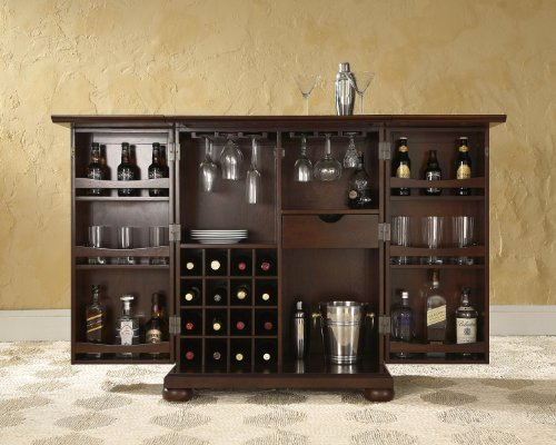 Crosley Furniture Alexandria Expandable Top Bar Cabinet - Vintage Mahogany: Home & Kitchen