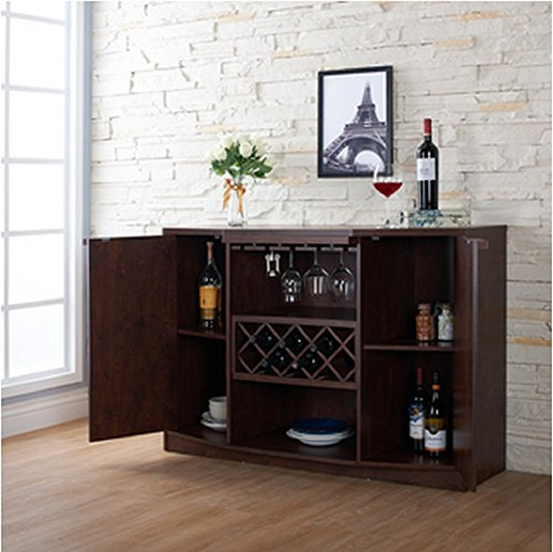 Wine BAR Buffet and Storage Cabinet with Center Glass and Wine Rack, Side Shelves, and Open Focal Point Shelf (Walnut): Bar Top Kitchen & Dining