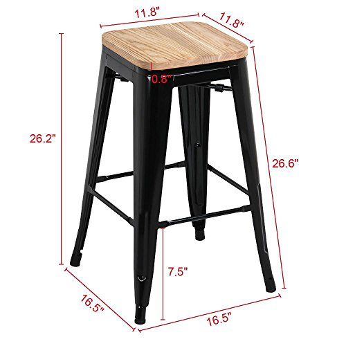 Yaheetech 26 inches Counter Height Metal Bar Stools Set of 4, Indoor Outdoor Stackable Bartool Industrial with Wood Seat, Black: Kitchen & Dining