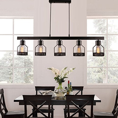 Unitary Brand Antique Black Metal Long Kitchen Island Light with 5 E26 Bulb Sockets 200W Painted Finish - - Amazon.com