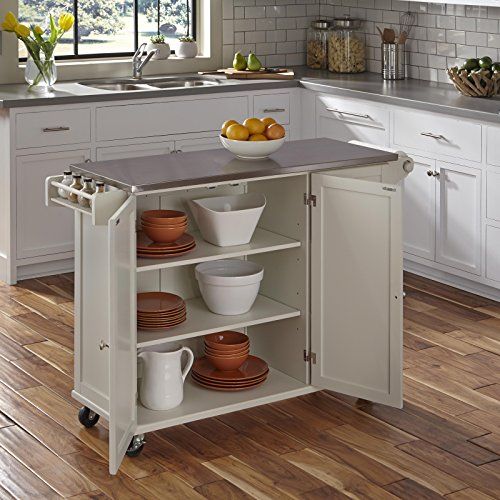 Home Styles 4512-95 Liberty Kitchen Cart with Stainless Steel Top, White - Kitchen Islands & Carts