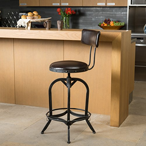 Samthorn Metal Industrial Barstool with Backrest (Brown Recast Leather): Kitchen & Dining