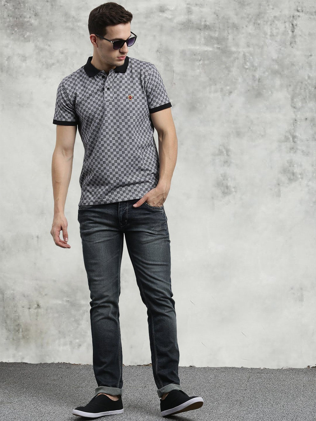 COBB Grey Polo Neck T-Shirt