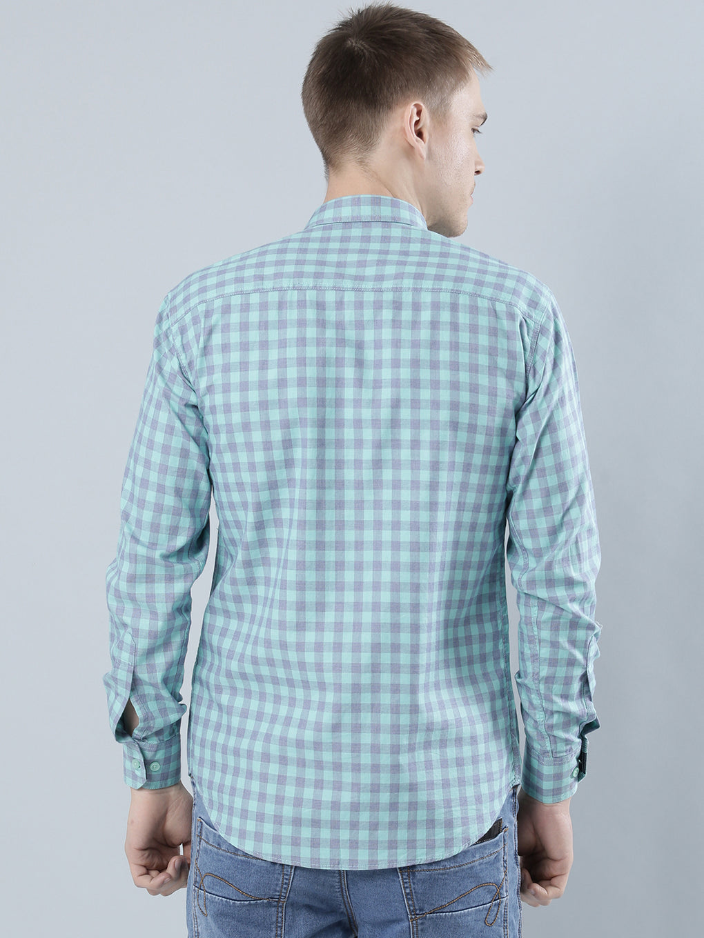 COBB Green Checked Slim Fit Casaul Shirt