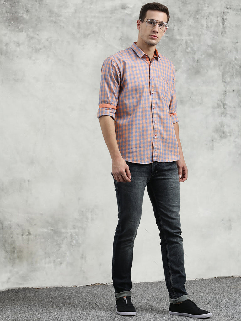 COBB Orange Checked Slim Fit Casual Shirt