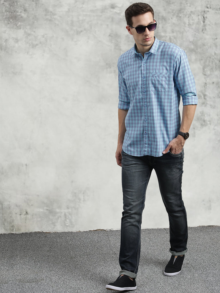 COBB Turquoise Blue Checked Slim Fit Casual Shirt